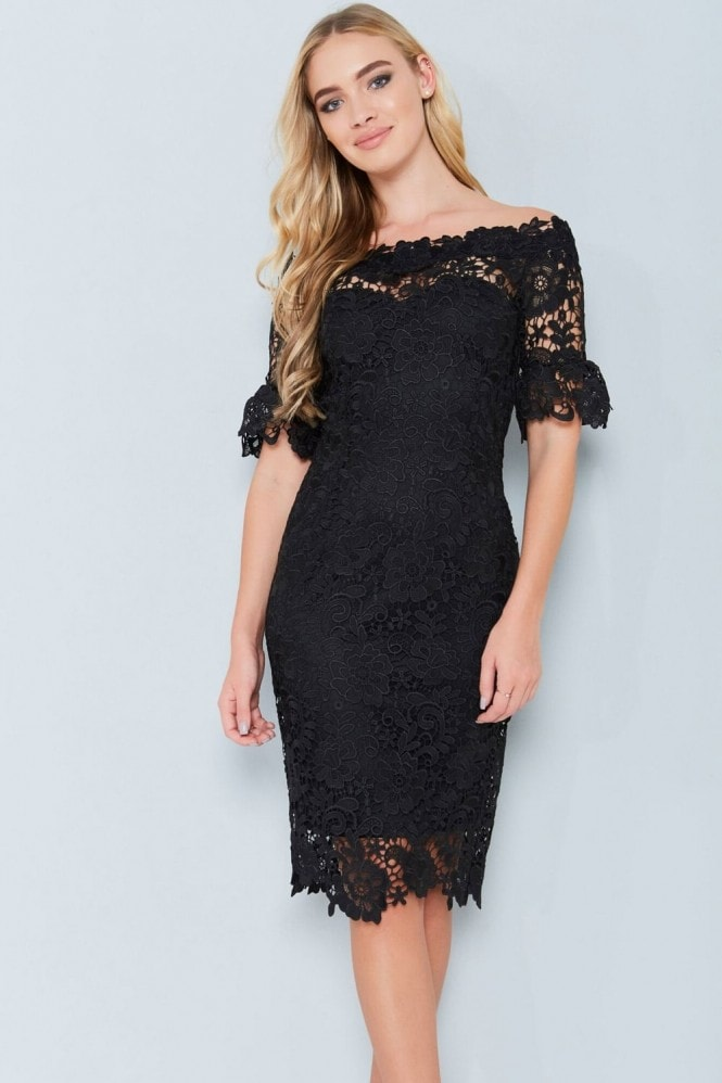 Paper Dolls Black Floral Crochet Lace Bardot Dress