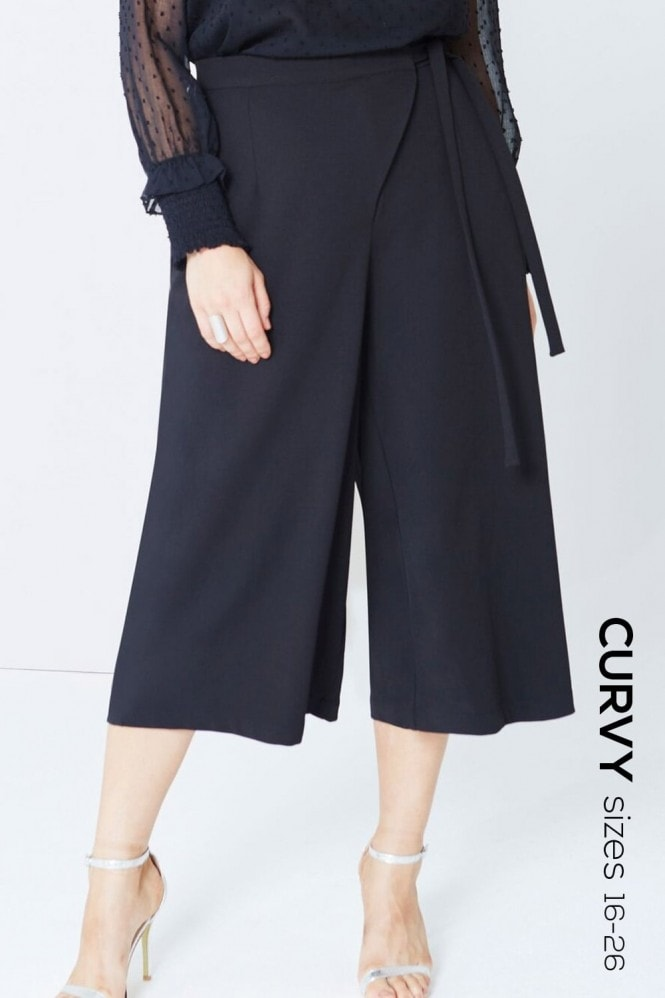 Girls On Film Curvy Black Wrap Front Culottes
