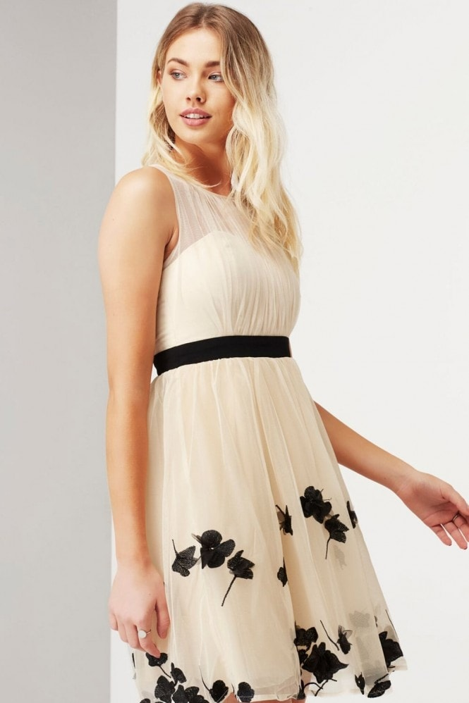 Little Mistress Beige Petal Applique Mini Dress