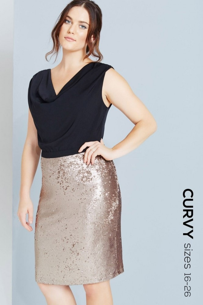 Paper Dolls Curvy Black top and Gold sequinned Skirt