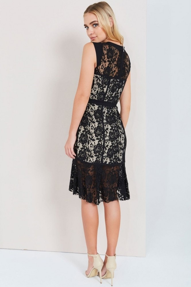 Paper Dolls Black Lace Peplum Hem Dress
