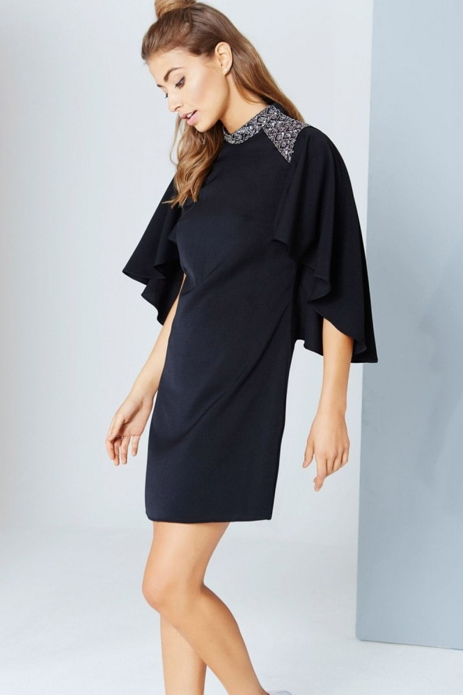 Little Mistress Black Cape Sleeve Dress With Embellishment