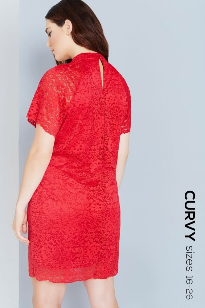 Girls On Film Curvy Red Lace Shift Dress With Keyhole