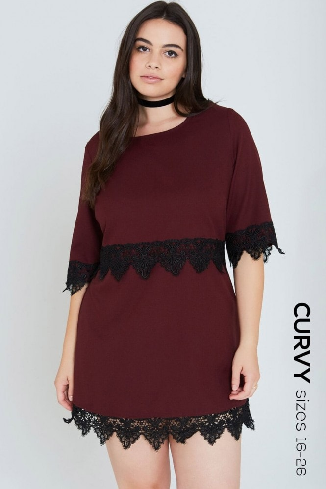 Girls On Film Curvy Burgundy Lace Hem Shift Dress