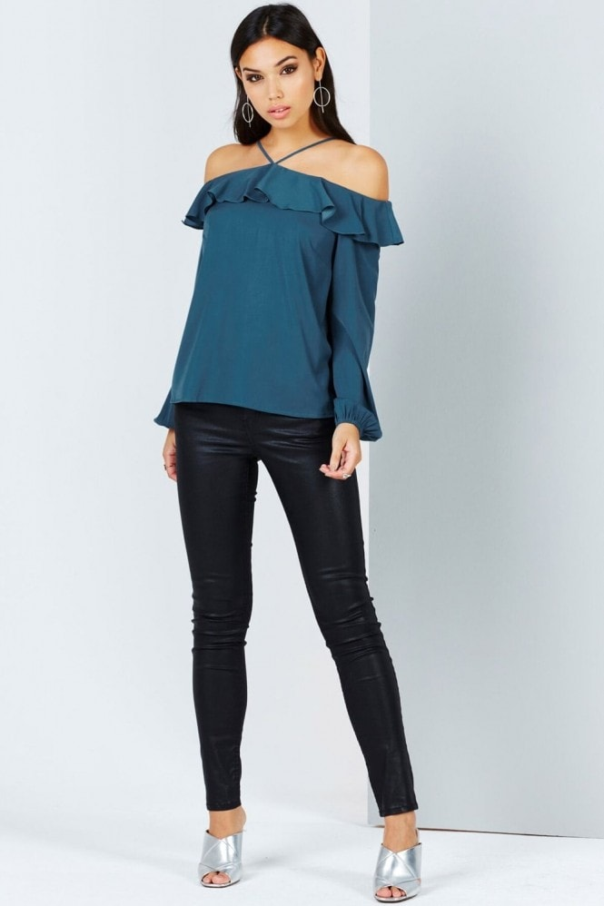 Girls on Film Teal Off The Shoulder Top With Ruffles