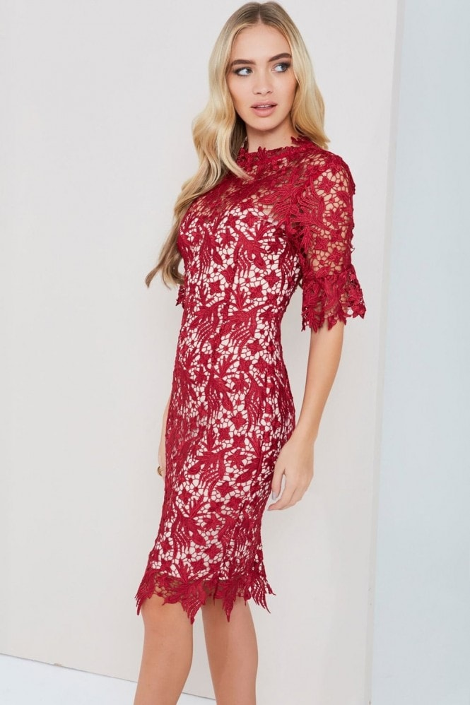 Paper Dolls Berry Lace Dress With Fluted Sleeves