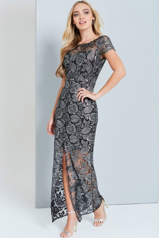 Paper Dolls Metallic Black Crochet Maxi Dress