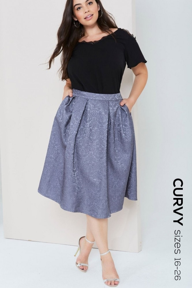 Girls On Film Curvy Grey Jacquard Full Midi Skirt