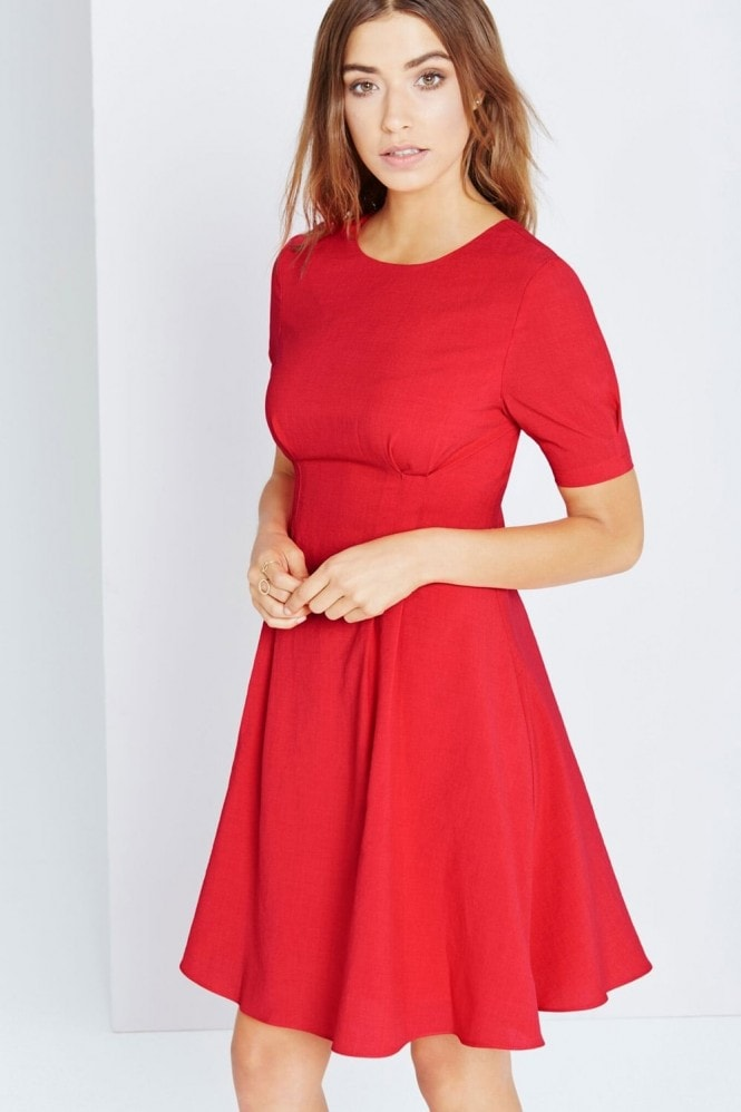 Little Mistress Red Fit And Flare Midi Dress