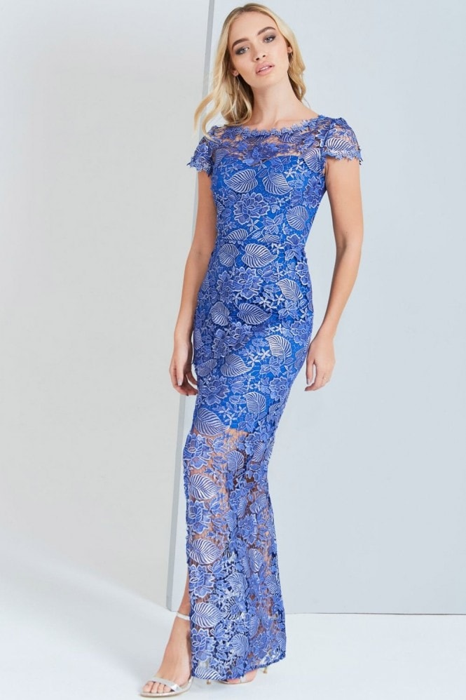 Outlet Paper Dolls Metallic Blue Crochet Maxi Dress
