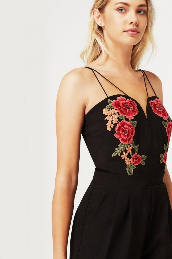 Girls on Film Black Embroidered Plunge Neck Jumpsuit