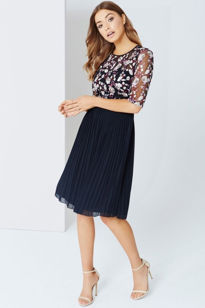 Little Mistress Floral Embroidered Midi Dress With Pleats
