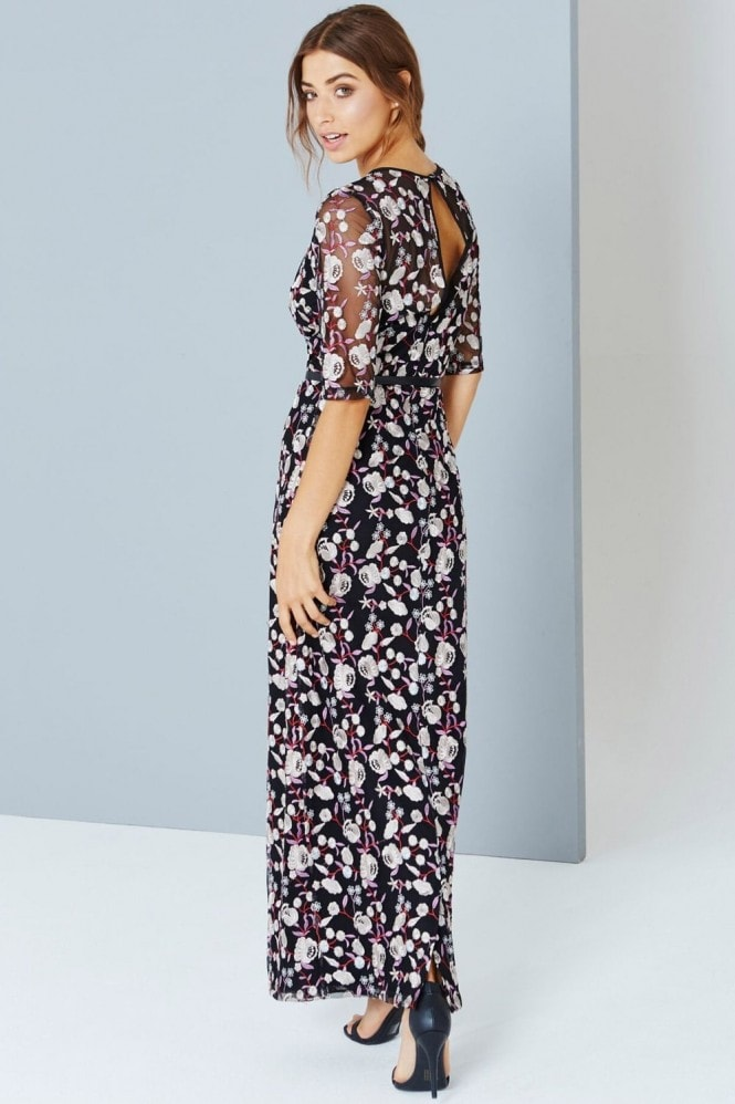 Little Mistress Embroidered Floral Maxi Dress