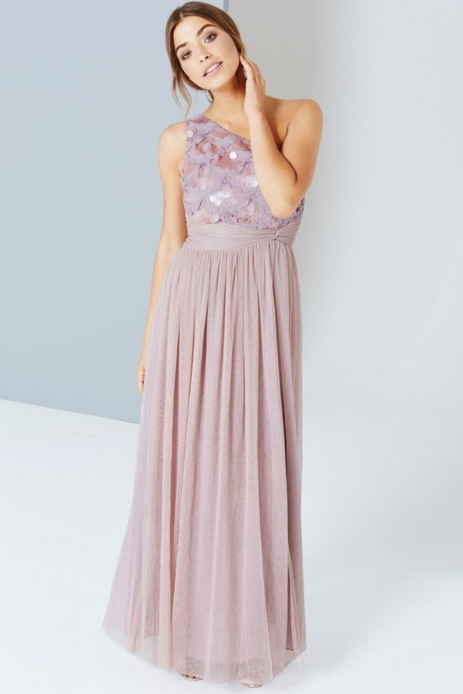 Little Mistress Mink Sequin One Shoulder Maxi Dress