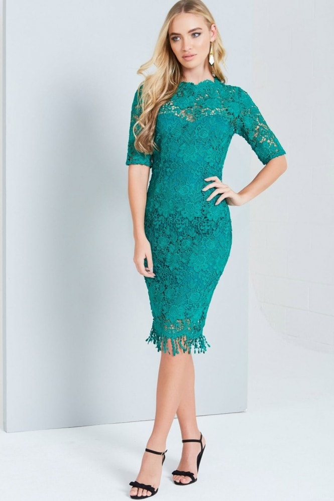 Paper Dolls Jade Crochet Lace Dress With High Neck