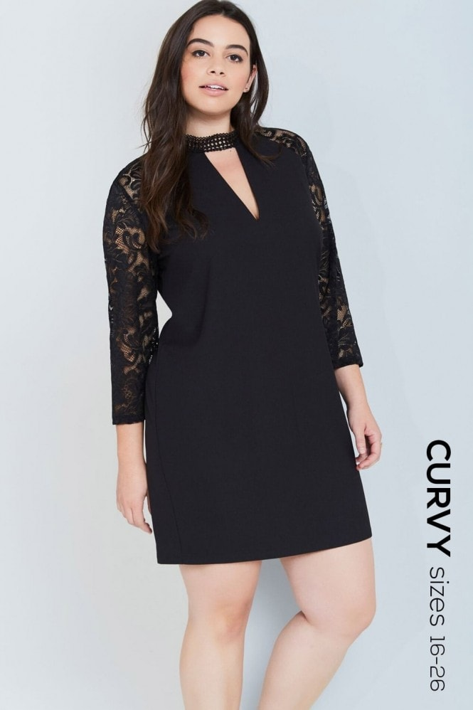 Girls On Film Curvy Black Choker Detail Lace Dress