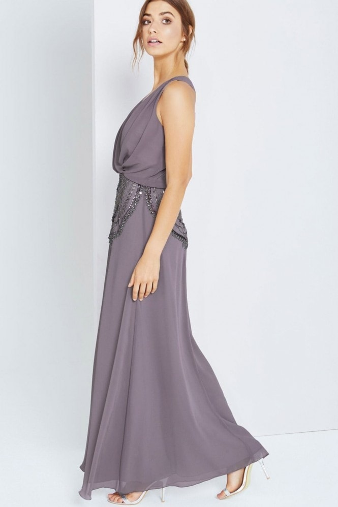 Little Mistress Grey Drape Front Maxi With Embellishment
