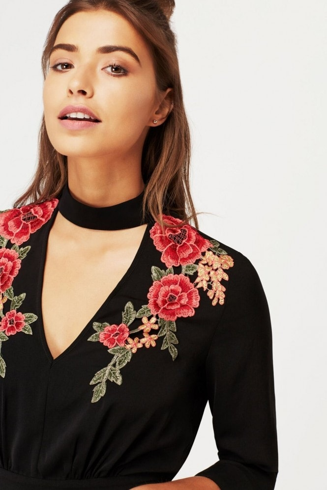 Girls on Film Black Embroidered Choker Playsuit