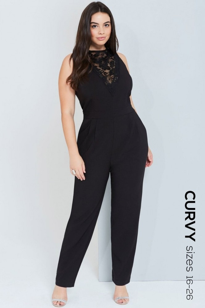 Girls On Film Curvy Black Lace Detail Jumpsuit