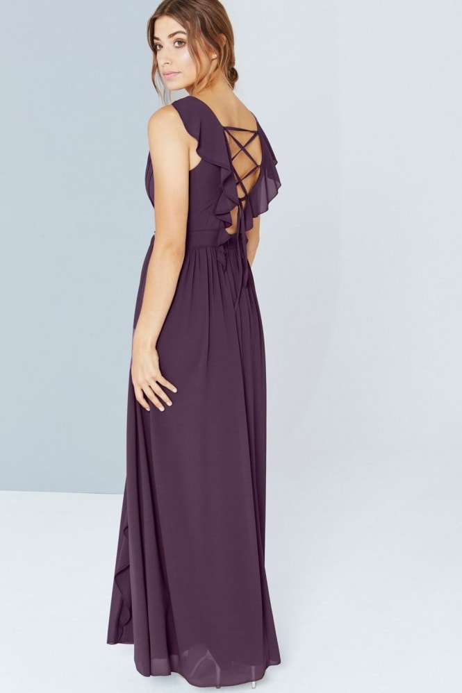 Little Mistress Purple Embellished Maxi With Tie Back