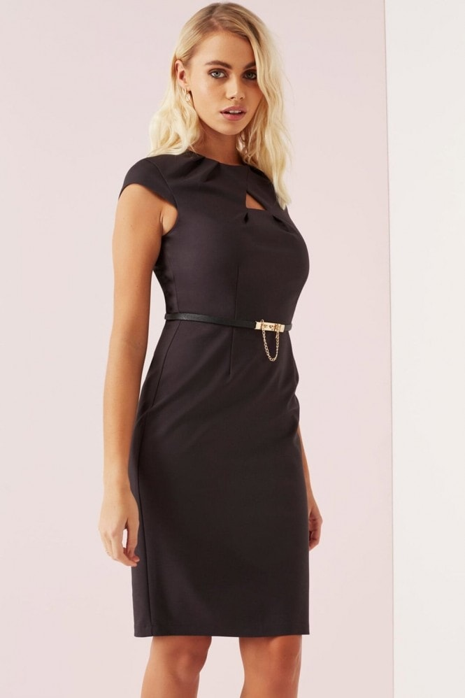 Paper Dolls Charcoal Keyhole Pleat Dress