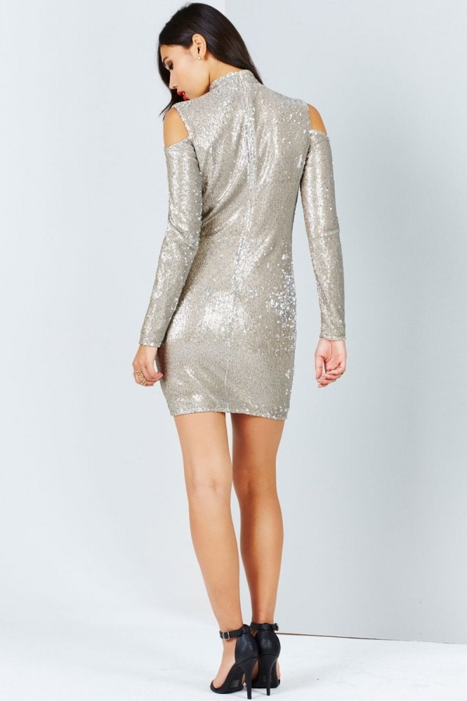 Girls on Film Gold Sequin Cold Shoulder Bodycon Dress