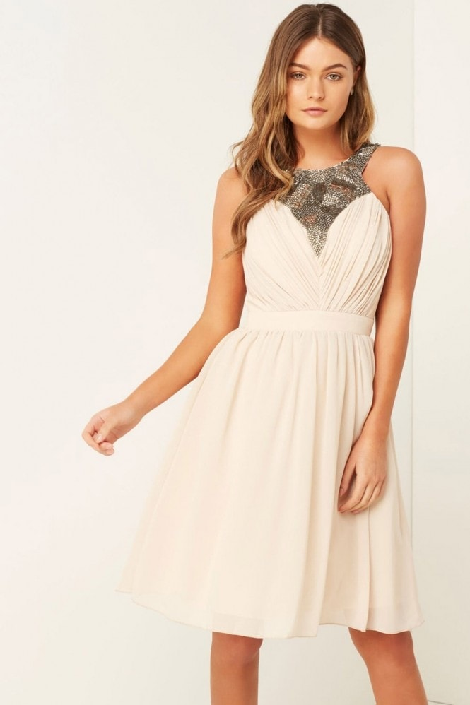 Little Mistress Beige Sequin Trim Prom Dress