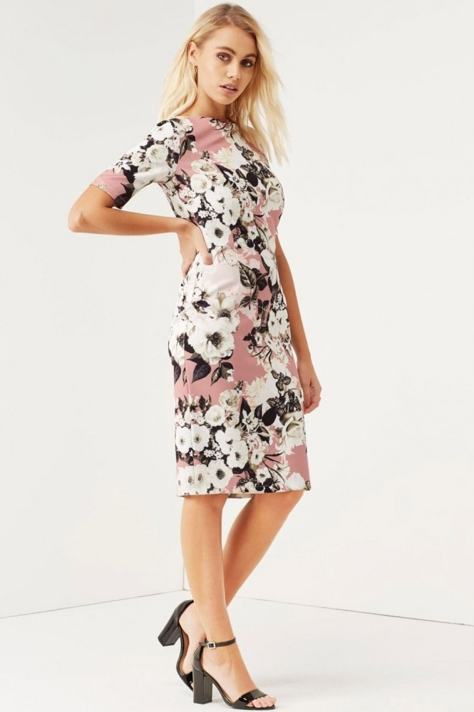 Paper Dolls Rose Lily Print Wiggle Dress