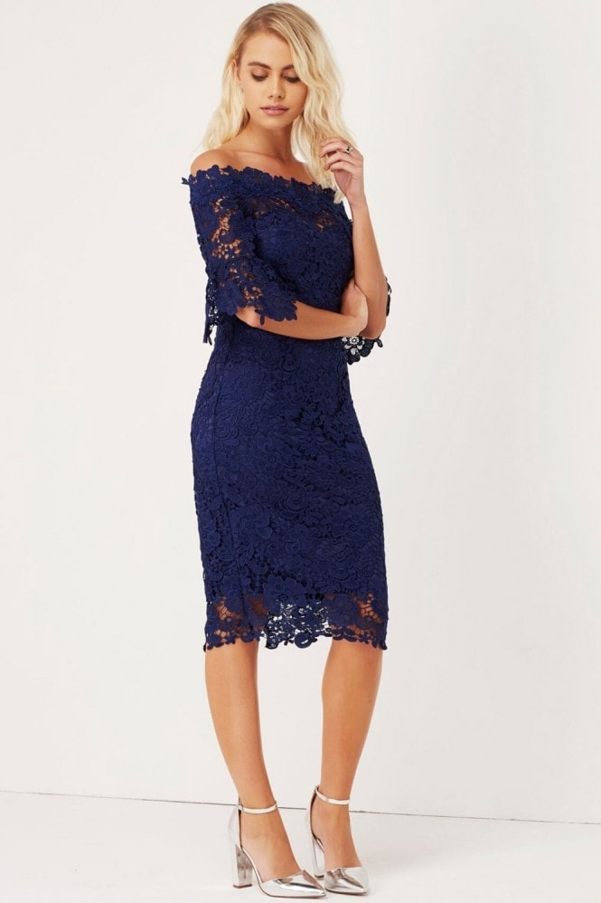 Outlet Paper Dolls Navy Crochet Bardot Dress