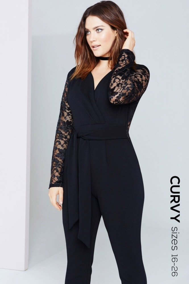 Girls On Film Curvy Black Lace V-Neck Jumpsuit