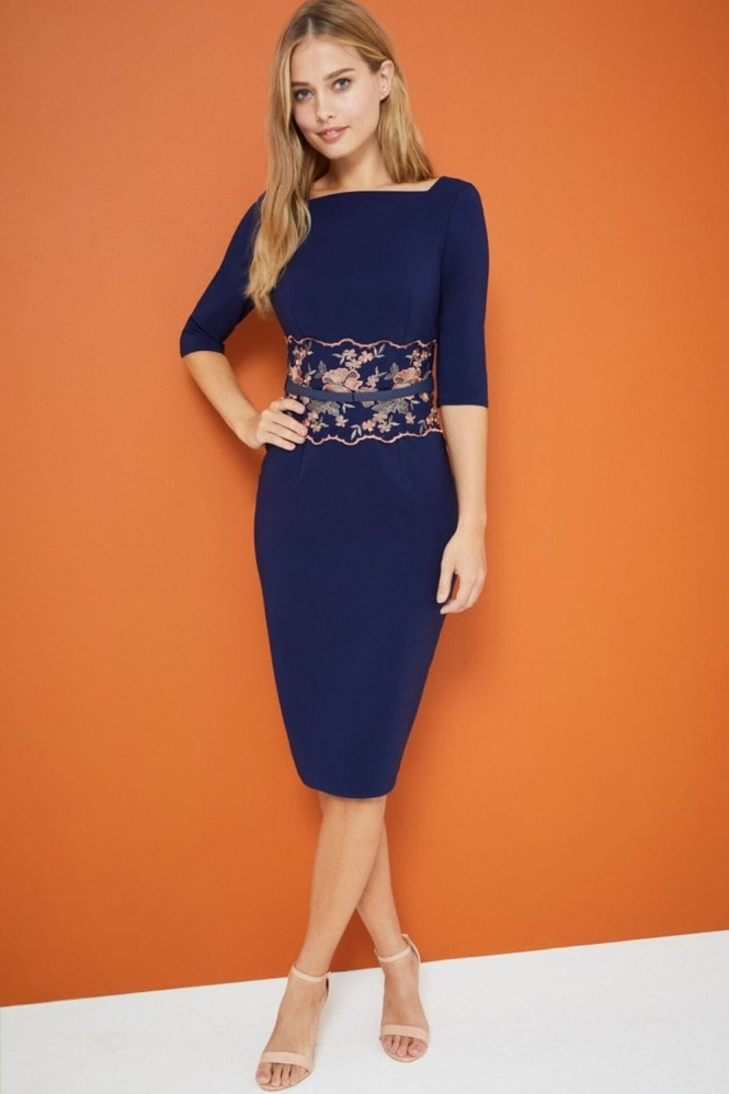 Little Mistress Navy Embroidered Waist Dress