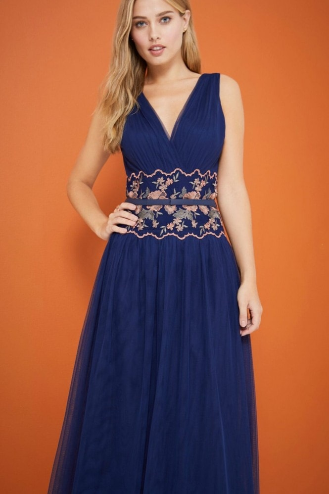 Navy Embroidered Waist Maxi