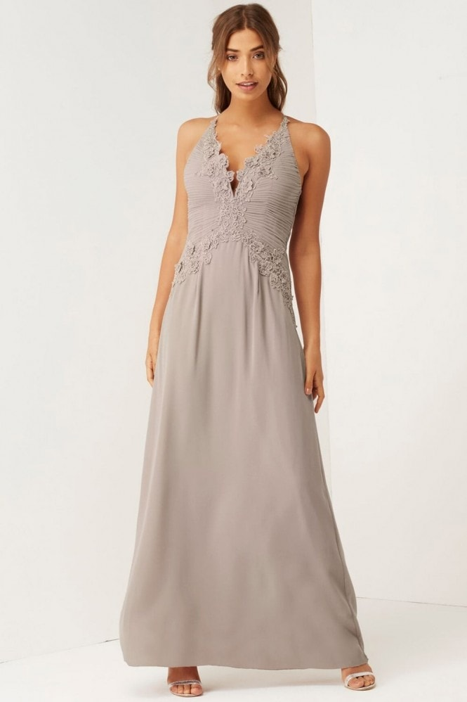Little Mistress Mink Applique Maxi Dress