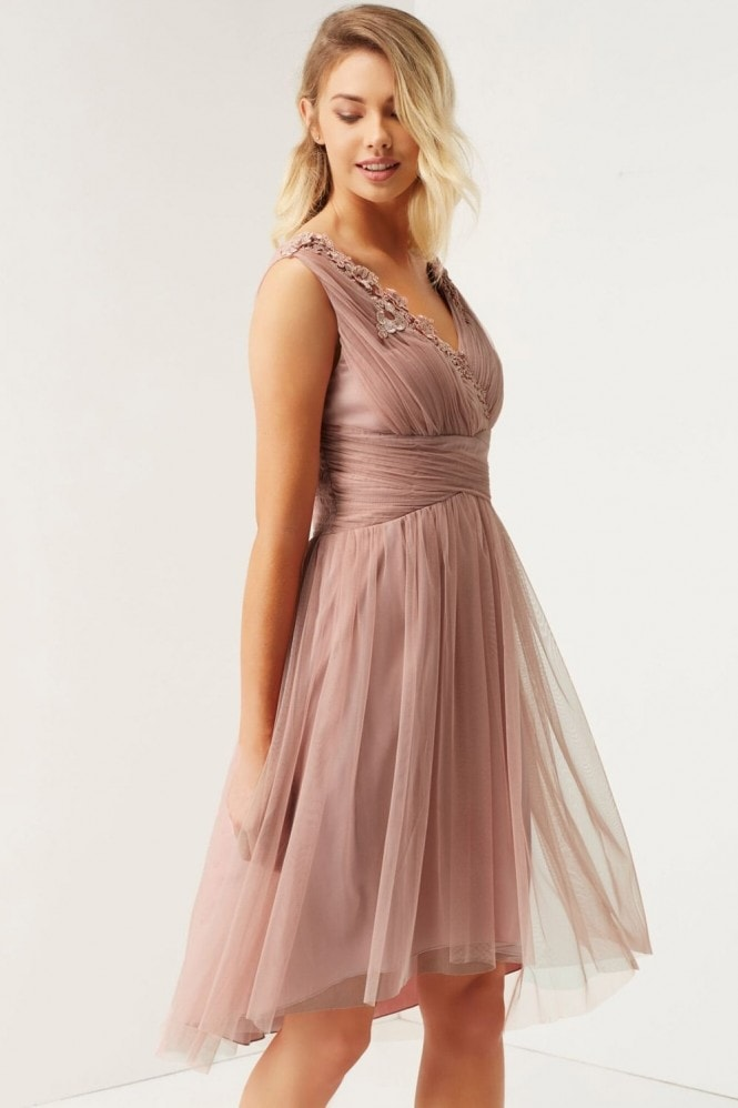 Little Mistress Rose Applique Mesh Prom Dress