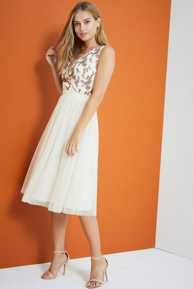 Cream Embroidered Midi Dress