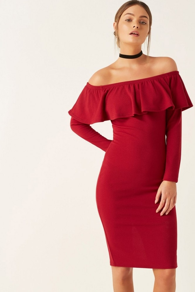 Girls on Film Bardot Ruffle Midi Dress