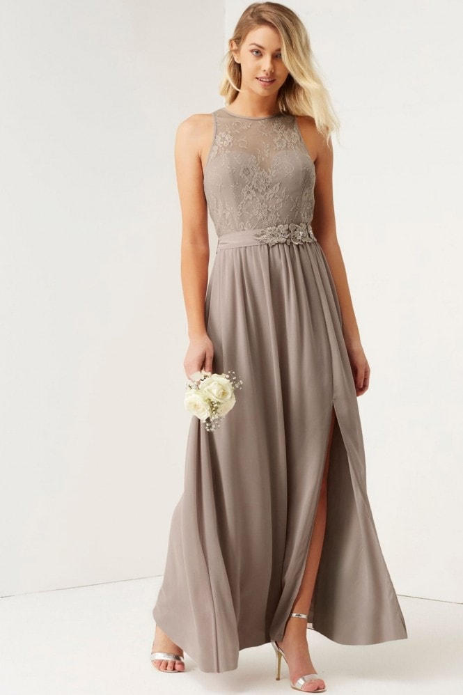 Little Mistress Mink Lace Maxi Dress With Belt