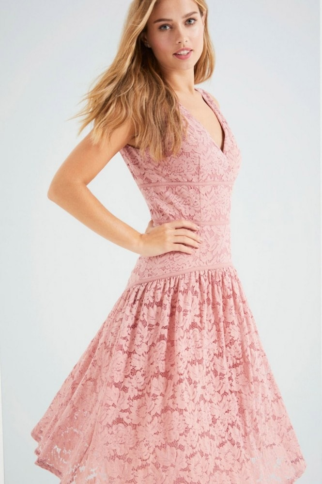 Little Mistress Apricot Lace Panel Midi Dress