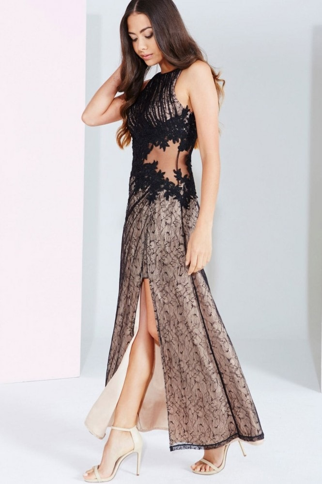 Little Mistress Black And Beige Lace Applique Maxi Dress