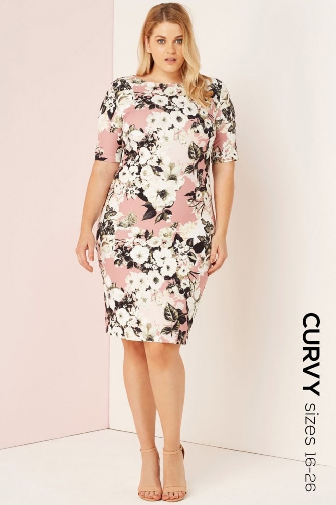 Paper Dolls Curvy Floral Bodycon Dress