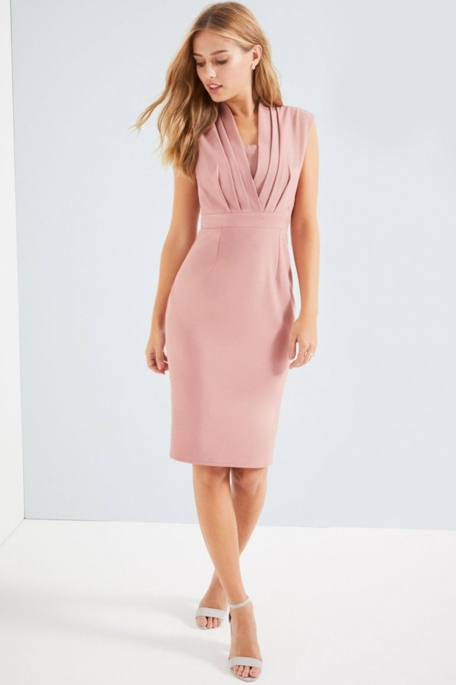 Little Mistress Peach Pleat Bodycon Dress