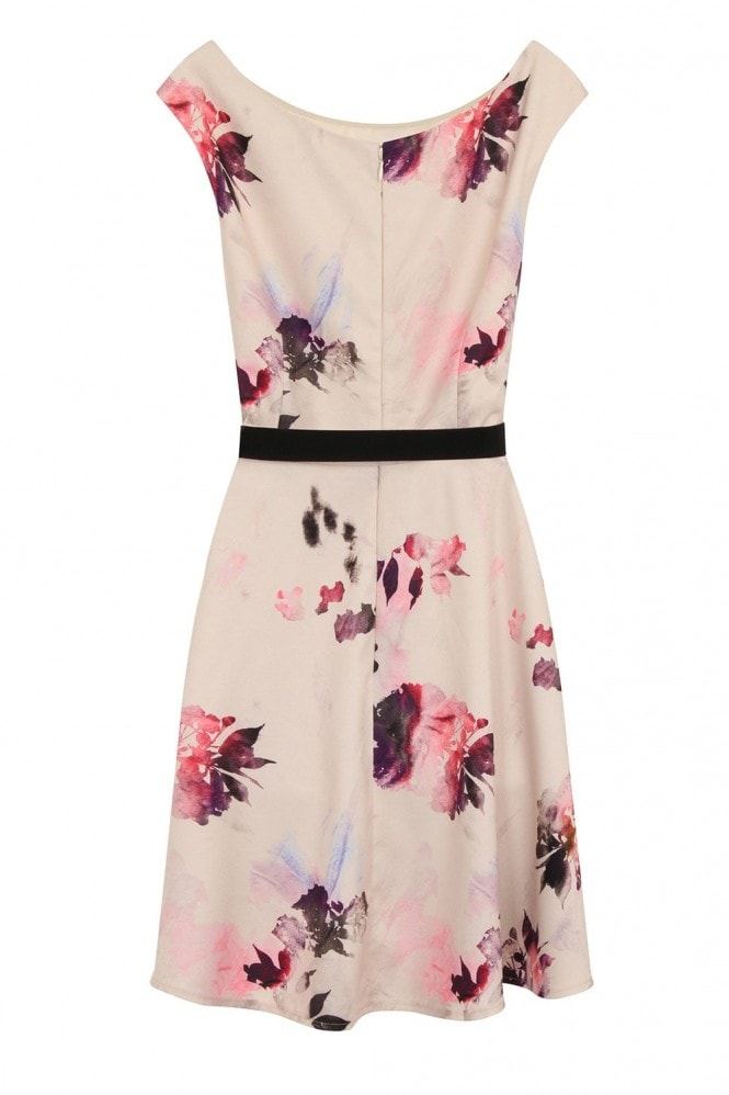 Little Mistress Petal Print Belted Prom Dress