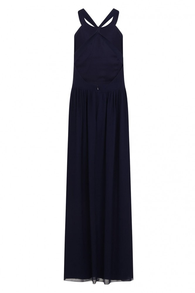Little Mistress Navy Lace Exposed Back Maxi Dress