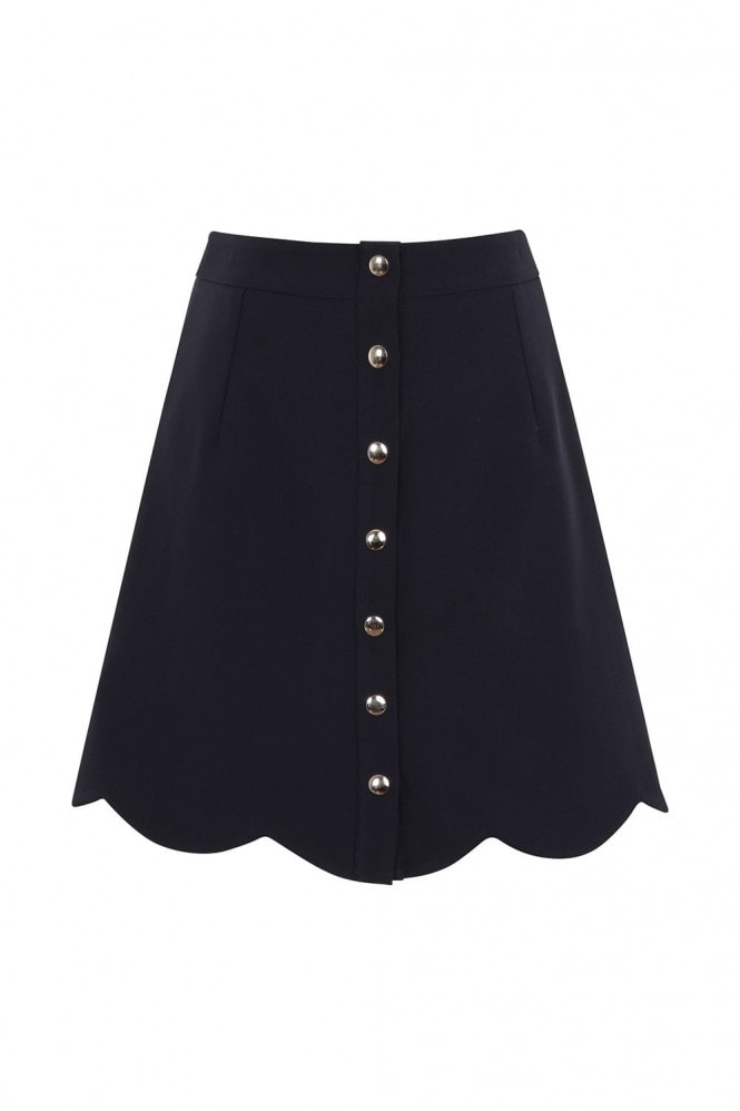 Outlet Girls On Film Navy Scallop Button Mini Skirt
