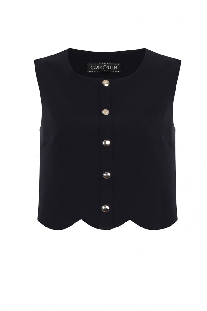 Outlet Girls On Film Navy Scallop Button Crop Top