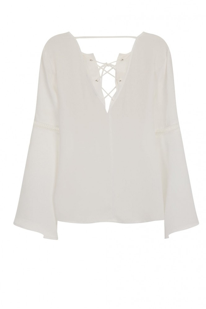 Outlet Girls On Film White Hippy Top With Crossed String Chest Detail