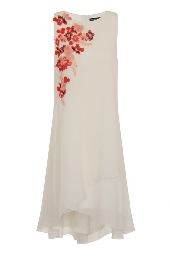 Little Mistress White Embroidered Shift Dress