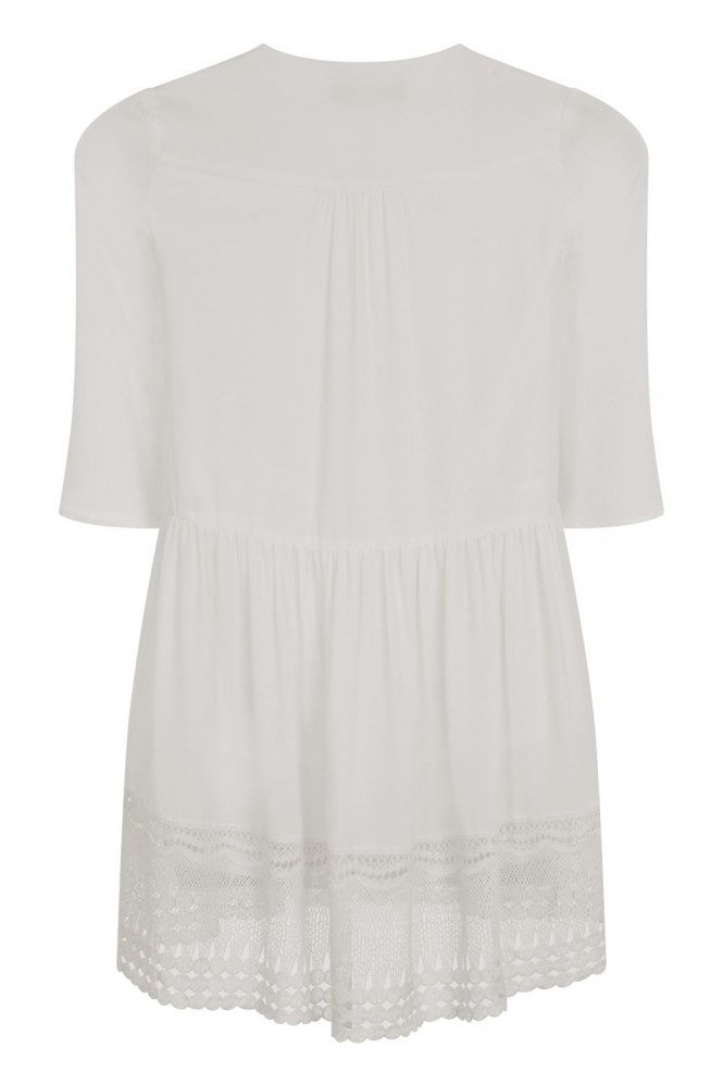Girls on Film White Hippy Dress With Crossed String Chest Detail