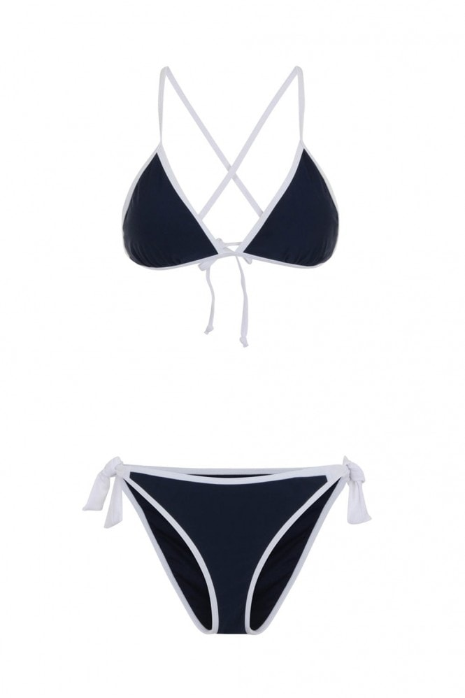 Little Mistress Swimwear Cross back navy bikini with contrast cream trim