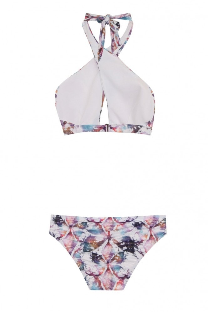 Little Mistress Swimwear Multi Strap Front Bikini in Frosted Butterfly Print